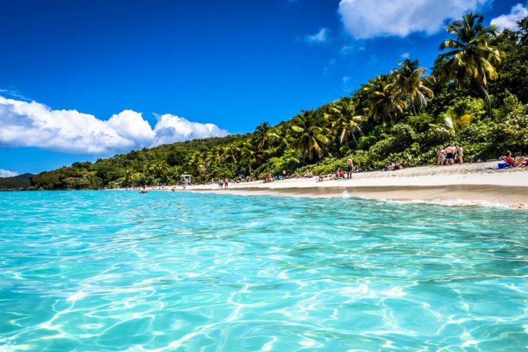 Blue ocean, white sand.