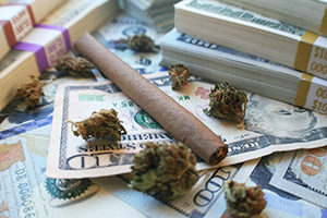 Cannabis with piles of cash.