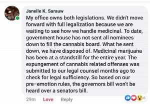 Senator Sarauw Facebook Recreational Cannabis Statement