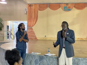 """Terrance Positive Nelson and Laurent """"Tippy"""" Alfred at St. Croix Cannabis Town hall"""