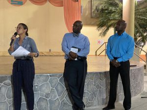 Ann Cecile O'Neill, Horace Graham and Miguel Tricoche at St. Croix Cannabis Town hall