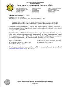USVI Cannabis Advisory Board Press Release Regarding Feb. 27th Meeting