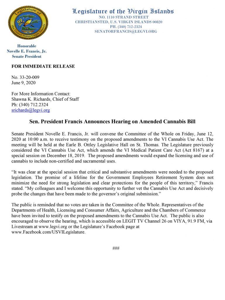 Sen. Francis Press Release - Cannabis Bill Session Friday June 12th, 2020