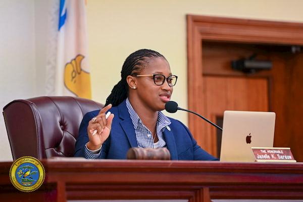 Sen. Janelle Sarauw at Rules & Judiciary Hearing
